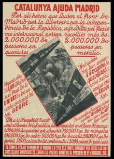 Spain - - GC - poster - Catalunya ajuda Madrid : Per als herois que… Spanish War, Political Posters, Party Poster, Vintage Posters, Barcelona, War, Historia, Spanish, Poster Vintage