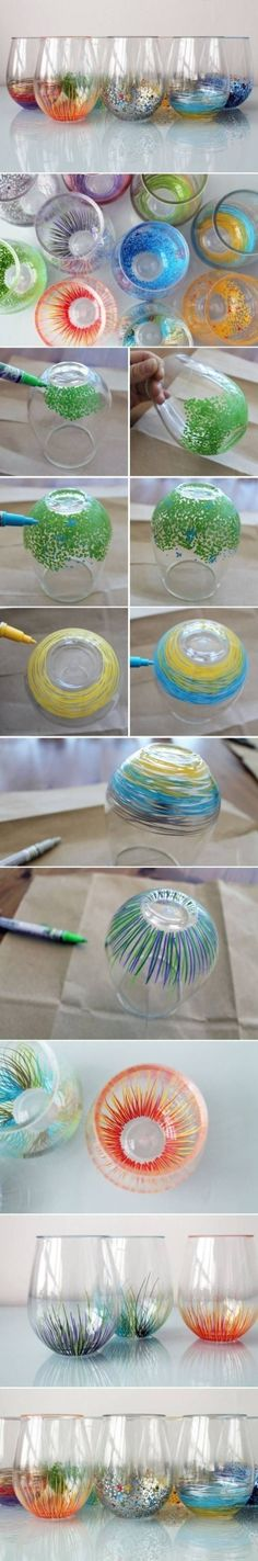 Decorated Stemless wine glasses (Sharpie Paint Markers) -- cool DIY, but can you wash them? Sharpie Paint Markers, Sharpie Crafts, Paint Pens, Sharpies, Sharpie Projects, Chalk Pens, Sharpie Art, Cool Diy, Fun Diy Crafts