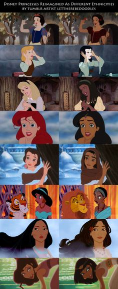 Disney Princesses Reimagined As Different Ethnicities by Tumblr artist lettherebedoodles