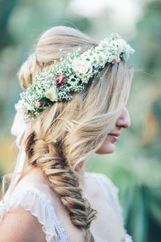 Fishtail braid with flower crown @myweddingdotcom