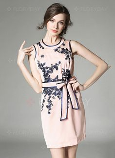 Dresses - $83.08 - Polyester Floral Sleeveless Above Knee Casual Dresses (1955104364)