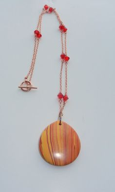 Orange and Red Stripped Pendant with Swarovski by CloudNineDesignz, $35.00