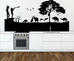 Items similar to Australian Landscape Mural Decal, Vinyl Wall Decal, Australia Wall Decal, Liv . Tree Stencil For Wall, Tree Wall, Vinyl Wall Decals, Sticker Vinyl, Landscape Walls, Vinyl Wallpaper, Dorm Decorations, Metal Wall Art, Decorating Your Home