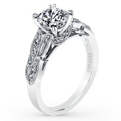 Kirk Kara 18K White Gold White Diamond Dahlia Engagement Ring With 0.11 Carat Diamonds. $2910