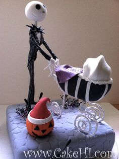Nightmare before Christmas Baby shower cake. If only I had another fall baby Otoño Baby Shower, Bebe Shower, Baby Shower Diapers, Baby Shower Gender Reveal, Baby Shower Cakes, Baby Shower Parties, Baby Shower Themes, Shower Ideas, Nightmare Before Christmas Babyshower