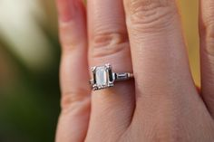 Vintage Emerald Cut Diamond Engagement Ring by KDCJewelryco