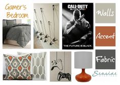 Boys Gamer Themed Bedroom in Shades of Gray and Orange Via Seaside Interiors today on www.abritofhappiness.blogspot.com