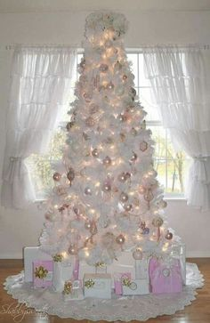 White Christmas Tree Decorations Shabby Chic , Shabby White Decor white christmas tree decorations s White Artificial Christmas Tree, White Christmas Trees, Christmas Tree Themes, Beautiful Christmas, Christmas Lights, White Trees, Xmas Trees, Artificial Tree, Christmas Pictures