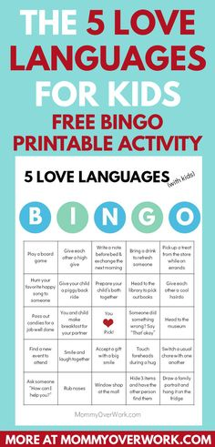 five love languages for children. perfect parenting and family time activity to care and improve communication with kids and babies. comes with free printable bingo activity Love Languages For Kids, Five Love Languages, Bonding Activities, Indoor Activities For Kids, Family Activities, Love Language Physical Touch, Gary Chapman, Poetry For Kids, 100 Fun