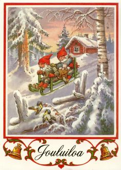 "Photo from album ""Lars Carlsson"" on Yandex. Vintage Christmas Cards, Vintage Cards, Vintage Postcards, Merry Christmas And Happy New Year, Christmas Elf, Christmas Crafts, Merry Xmas, Norwegian Christmas, Scandinavian Christmas"
