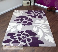 Grey, Purple And Cream Modern New Luxury Rug - 2 Sizes in Home, Furniture & DIY, Rugs & Carpets, Rugs Purple Bathrooms, Purple Rooms, White Rooms, White Bathroom, Master Bathroom, New Living Room, My New Room, Modern Rugs Uk, Modern Contemporary