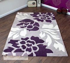 Merveilleux Grey, Purple And Cream Modern New Luxury Rug   2 Sizes
