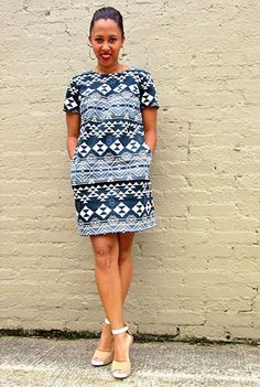 Ikat Print Stretch Dresses, Contemporary Shift Dresses , Black And White dresses, contemporary Dresses, cotton sateen Dresses, cotton/spande...