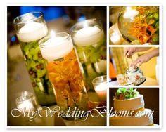 Wedding, Flowers, Reception, Cake, Green, Orange, My wedding blooms