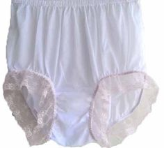 CLICK IMAGE TWICE FOR PRICING AND INFO :) #women #panties #lingerie #briefpanties #intimates #undergarment see more granny panties at http://zpanties.com/category/panties-categories/granny-panties/ - Sexy White Panties Granny Briefs Nylon Floral Lacy Knickers Underwear X-Large Hip 36″ – 40″ « Z Panties