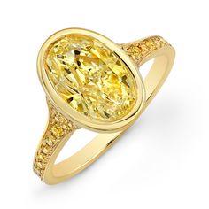 Fancy Yellow Bezel-Set Oval Diamond Ring - Rahaminov Diamonds - Product Search - JCK Marketplace