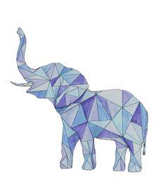 Blue Geometric Elephant Watercolor Painting door HannaFerrosArt, $7.99