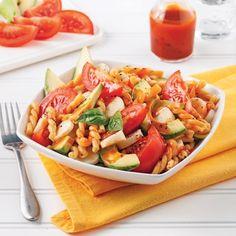 Rigatonis aubergine et ricotta - 5 ingredients 15 minutes Rice Recipes, Vegetarian Recipes, Cooking Recipes, Healthy Recipes, Rice Salad, Pasta Salad, Vinaigrette Salad Dressing, Salsa, Cold Lunches