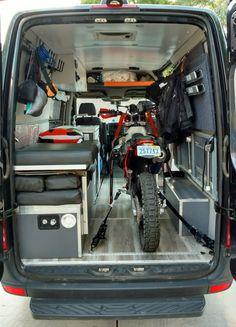 KTM 500 EXC dirt bike in a sprinter This van hauls my dirtbike and has a convertible bed and dinette. Camping Car Van, Camping Vans, Truck Camping, Build A Camper Van, Camper Van Life, Motorcycle Trailer, Motorcycle Camping, Sprinter Van, Van Home