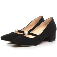 66.50$  Buy now - http://ali0p0.worldwells.pw/go.php?t=32684549057 - classic design 4.5 cm thick heels women genuine leather work pumps 2016 square toes beads appliqued fashion ladies office shoes