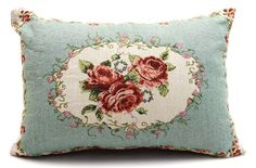 "Country Style  Rose Tapestry Cushion /  Pillow Cover Sham 33x45cm 13x18"" New."