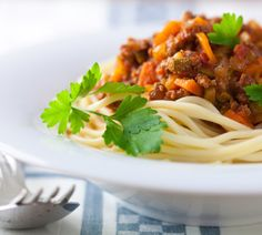 Marcella made a fine pasta bolognese - tangledpasta.net