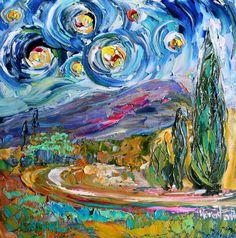 Original oil painting NIGHT STARS LANDSCAPE impasto palette knife fine art by Karen Tarlton impressionism