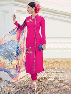 Pink Georgette Printed Suit