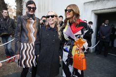 Giovanna Battaglia, fashion editor of L'Uomo Vogue and W magazine contributor, Franca Sozzani, editor of Italian Vogue and Anna Dello Russo,...