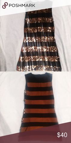 Copper Sparkle Party Dress - Small Alternating copper and black striped sequined dresss Stretchy flattering material perfect to fit  Super sparkly and fabulous Perfect for the holiday season  Back has no sequins Bra friendly ! Bought at Marshalls Perfect for New Year's Eve Christmas parties and more!  White mark seen in last photo can def come out with soap and water   NYE party formal Sparkle shine fabulous diva holiday season winter New York Las Vegas bachelorette Dresses Mini