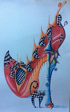 Shoe Art 2 Watercolor Background, Watercolor Art, Barbie Shop, Art Impressions, Shoe Art, Cute Images, Doodle Art, Fine Art Paper, Illustration Art