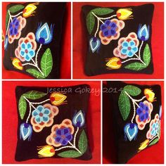 Ojibwe Floral Trade Pillow. Beaded on black velveteen using antique French and Venetian. Designed, beaded, and hand made by Jessica Gokey 2014.