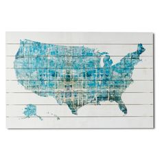 Gallery 57 USA Abstract Map on Planked Wood - S4087A