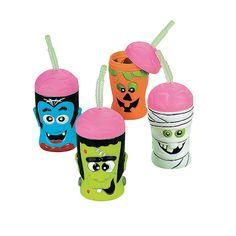 Halloween Brain Head Cups With Lids & Straws - OrientalTrading.com