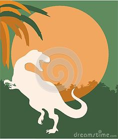 Illustration of Background with tyrannosaurus and jurassic jungle