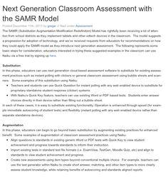 Next Generation Classroom Assessment with the SAMR Model:  http://www.naiku.net/blog/next-generation-classroom-assessment-with-the-samr-model/