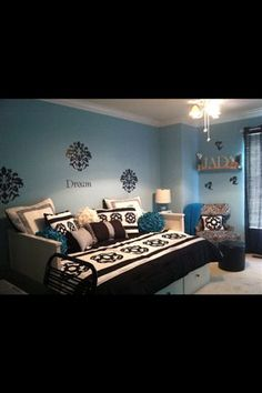 Black ,White and Turquoise Room For My 12 Year Old  , My daughter wanted a big girls room something she could grow into during her teen years. I think I achieved that goal. Thank You!  , Girls' Rooms Design