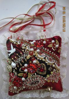 I ❤ crazy quilting, beading & embroidery . . . My wonderful friend Pam Kellogg of Kitty and Me Designs made me this absolutely gorgeous Valentine's Door Hanger!- The picture doesn't do it justice because it shimmers and sparkles and is a feast for the eyes. ~By Pam Kellogg