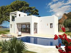 Modelo Ibiza. Chalet de nueva construcción en diseño ibicenco en Costa Blanca y Costa Cálida.