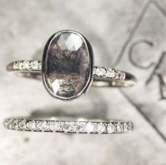 Our 2.92 carat salt & pepper diamond ring. Excellent cut and flash. #jewelry #chincharmaloney