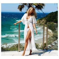 Women's Womens' summer beach dress maxi swimsuit cover up (115 HRK) ❤ liked on Polyvore featuring swimwear, cover-ups, white, white beach cover up, cover up bathing suits, swim cover up, white cover up and cover up swimsuit