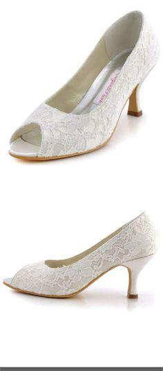 Lace wedding shoes ElegantPark Women Peep Toe Pumps Comfort Heel Lace  Wedding Bridal Dress Shoes  45.95 e312a0e7ca2a