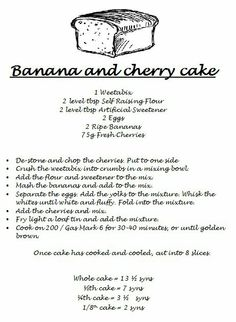 slimming world banana cake, minus the cherries and could be yum! Slimming World Deserts, Slimming World Puddings, Slimming World Tips, Slimming World Recipes, Syn Free Food, Slimmimg World, Healthy Eating Recipes, Health And Wellbeing, Food To Make