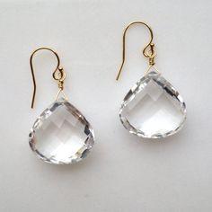 brilliant bright clear rock quartz crystal briolette by KKSparkles