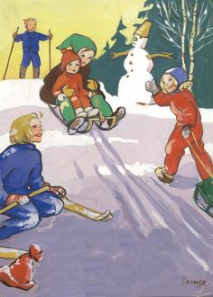 MARTTA WENDELIN | Osastot | Korttien Talo Vintage Christmas Cards, Vintage Holiday, Christmas Crafts, Winter Illustration, Children's Book Illustration, I Love Winter, Winter Fun, Dashing Through The Snow, Vintage Winter