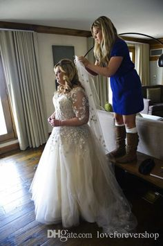 Wholesale 2014 Elegant Plus Size Wedding Dresses with Half Sleeve A-Line Illusion Lace Appliques Wedding Gowns, Free shipping, $180.42/Piece | DHgate Mobile