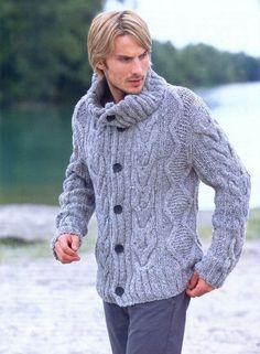 Men's hand knit buttoned cardigan 2A – KnitWearMasters