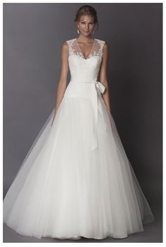 """Alyne """"Sylvie"""" Dropped waist tulle ball gown with lace keyhole back http://www.christiannebrunelle.com/English/Alyne-wedding-dresses/"""