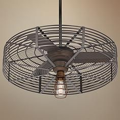 In a beautiful vintage style, this oil rubbed bronze ceiling fan comes in an industrial cage design with a complementary light kit. Style # at Lamps Plus. Contemporary Ceiling Fans, Contemporary Decor, Cage, Bronze Ceiling Fan, Fan Light Kits, Electric Fan, Outdoor Ceiling Fans, Porch Lighting, Vintage Industrial