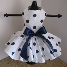 white with large navy polka dots dog dress